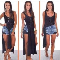 Blusa Vestido Super Fenda Lateral Nó Blogueira Instagram