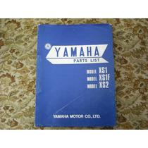 Manual De Peças Da Yamaha 650xs1, Xs1f, Xs2, Em Inglës, Raro