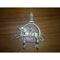 Perchero De Bronce Macizo Forma Herradura-caballo Ginete !!