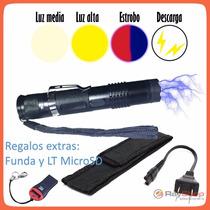 Lampara Tactica Con Descarga Electroshock Toques Taser Recar