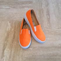 Sneakers Tenis Slip On Selmoon Naranja Neón