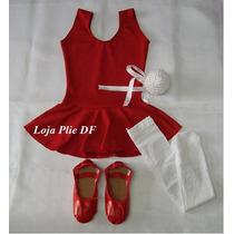 Kit Roupa Uniforme Figurino Ballet Vermelho Infantil No Df