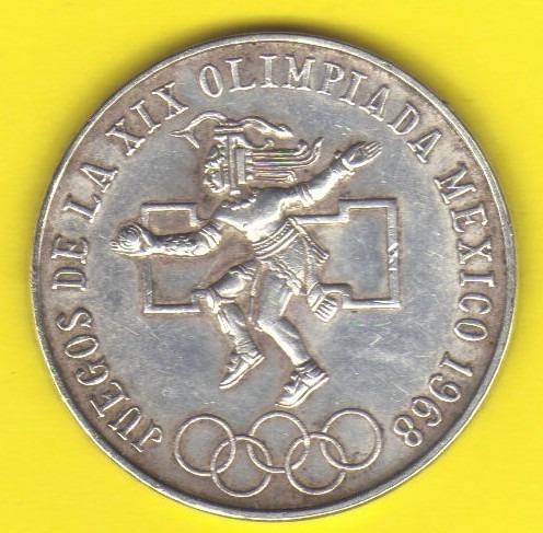 25 Pesos 1968 Plata Mexico Juegos Olimpicos Juego Pelota Hm4