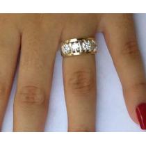 Anel Feminino Prata 950 E Apliques De Ouro Maciço Zircônias