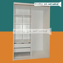 Placard 1.20 Ancho X 182 Al- Melamina Blanco Rieles Aluminio