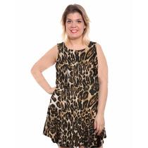 Mini Vestido Musculosa Animal Print, Talle Grande Real Ennia