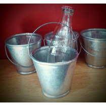 Balde De Zinc Mini-souvenir Vintage-centro D Mesa Pack X 12u