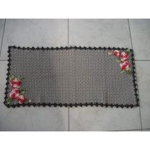 Tapete Sala Crochê Em Barbante Cozinha Banheiro Porta Marron
