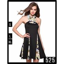 525 Vestido Con Diseño Unico Estilo Halter Detalles Florales