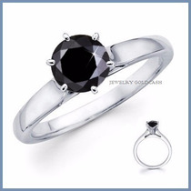 Anillo De Compromiso Diamante Natural Negro Oro 10k -50% 017