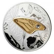 Mariposa Monarca Dije Plata Pura Con Ala En Baño De Oro