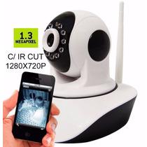 Camera Ip Sem Fio Hd 720p 1.3 Mp Wi-fi Noturna Gira 360