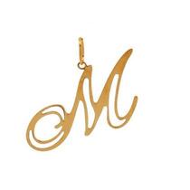 Pingente Letra M Em Ouro 18k 750