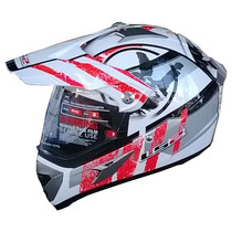 Casco Ls2 Mx433 Cross Con Visor Stripe Withe Red Devotobikes