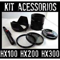 Mega Kit Sony Hx100 Hx200 Hx300 / Filtro Uv Cpl Tubo Parasol