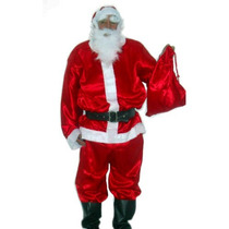 Fantasia De Papai Noel Roupa Em Tecido Cetim Pronta Entrega