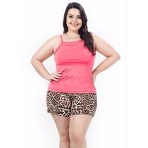 Pijama Plus Size Feminino Rendado Oncinha Roupa G Xg Xxg Elg