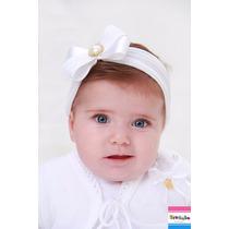 Faixa De Cabelo Bebê E Infantil Branca Com Laço De Renda