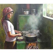 Quadro Óleo S/ Tela Pintura Cozinha Roça 38x44 Frete Grátis