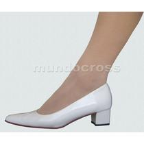 Bellísimos Zapatos Novia Stilettos Charol Blanco Nº 40 Al 44