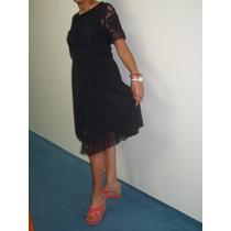 Vestido Negro C/encaje Marca Mab. C/bolsa Y Etiqueta.navidad
