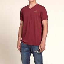 Camiseta Hollister Surf Masculina Gola V Vinho Nova Original