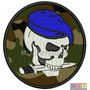 Bordado Termocolante- Hobby Militar- Caveira Cam Boina Azul