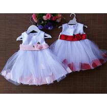 Vestido Con Pétalos Para Bebes Bautismos Fiestas Cumpleaños