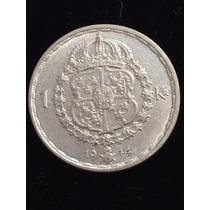 Suecia 1 Corona Fecha 1944 Plata 0.630 7g 25mm