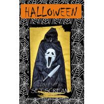 Set Disfraz Halloween Scream Niño Terror Mascara Capa Fiesta