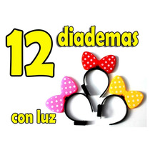 12 Diademas Con Luz Moño De Mimi Mouse Disney Fiestas Dj