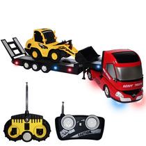 Caminhão Cegonha Trator De Controle Remoto Sons Luzes 23102