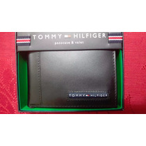 Billetera De Cuero Original Tommy Hilfiger Color Negro