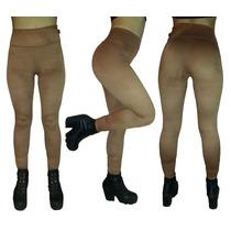 Calza Legging Mujer De Gamuza Color Marron Otoño / Invierno