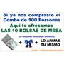 10 Bolsas De Mesa + 10 Lazos Para Combo De 100 Personas