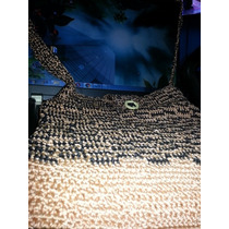 Bolso Cruzado Tejido Crochet Colores Marron