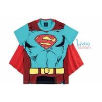 Camiseta Fantasia Superman Capa Original. Tam 10. Bebê Neném