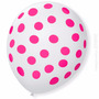 25 Unidades Balão Bexiga Decorada Nº09 Branca Bola Rosa Poa