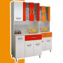 Mueble De Cocina Despensero Con Mesada Y Alacena De Vidrio