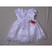 Vestido Infantil Festa/aniversário Branco Tamanho 3 E 4