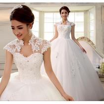 Vestido De Noiva Longo Rodado Renda Tule Pedras Princesa