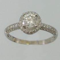 3277 Anel De Platina Com Diamante Central Bem Grande