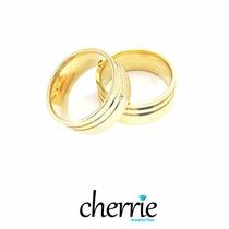 Aliança Casamento Prata Banhada A Ouro 18k Jateada Com 8mm