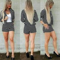Blazer Listra Terninho Listrado Feminino Casaco Branco Preto