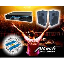 Combo Potencia Altech Xp 1000 Y 2 Bafles 2 Vias
