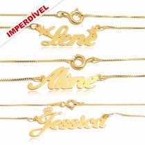 Colar Feminino Nome Personalizado Prata Com Ouro _ Promoção