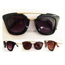 Oculos De Sol Feminino Geometric Exclusive C/ Case