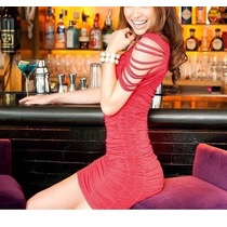 Sexy Y Lindo Vestido Corto Con Una Manga En Tiras, Rojo.