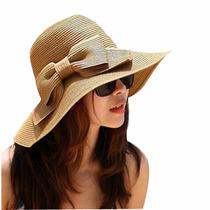 Sombrero Ala Larga De Paja Para Mujer De Playa O Casual
