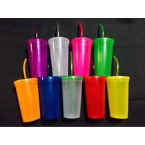 Vaso Plastico Con Popote Fiesta Colores Neon